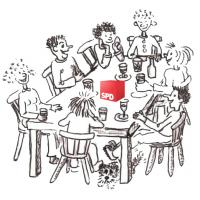 Zeichnung eines SPD Stammtischs